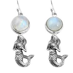925 silver 9.23cts natural rainbow moonstone fairy mermaid earrings p55480