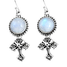 925 silver 9.39cts natural rainbow moonstone holy cross earrings jewelry p54999