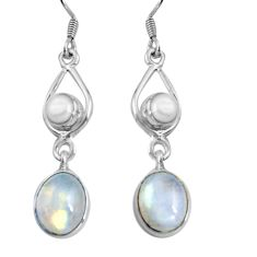 925 silver 9.98cts natural rainbow moonstone pearl dangle earrings d32479