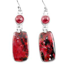 925 silver 19.09cts natural red bloodstone african (heliotrope) earrings p78693