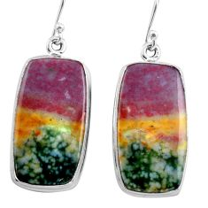 925 silver 26.16cts natural red bloodstone african (heliotrope) earrings p88712