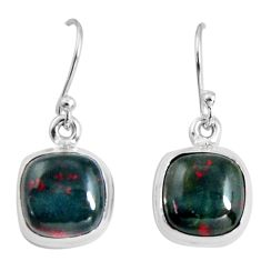 925 silver 8.84cts natural red bloodstone african (heliotrope) earrings p89307