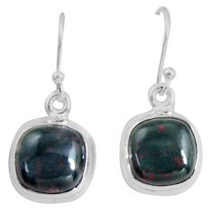925 silver 8.87cts natural red bloodstone african (heliotrope) earrings p89310