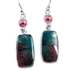 925 silver 21.01cts natural red bloodstone african garnet dangle earrings p78683