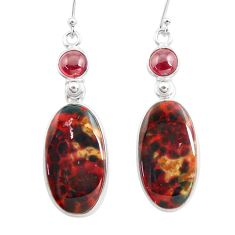 925 silver 20.40cts natural red bloodstone african garnet dangle earrings p78695