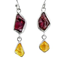 925 silver 15.33cts natural red garnet rough citrine rough earrings d32392