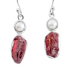 925 silver 13.84cts natural red garnet rough pearl dangle earrings p51868