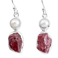 925 silver 14.26cts natural red garnet rough pearl dangle earrings p51871