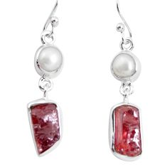 925 silver 13.40cts natural red garnet rough pearl dangle earrings p51874