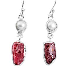 925 silver 14.72cts natural red garnet rough white pearl dangle earrings p51764