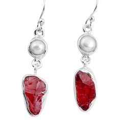 925 silver 12.52cts natural red garnet rough white pearl dangle earrings p51769