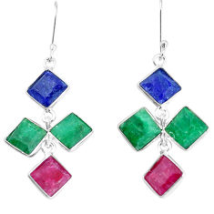 925 silver 17.78cts natural red ruby sapphire emerald dangle earrings p34776