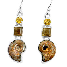 925 silver 15.76cts natural russian jurassic opal ammonite earrings p64684