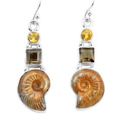 925 silver 16.05cts natural russian jurassic opal ammonite earrings p64696