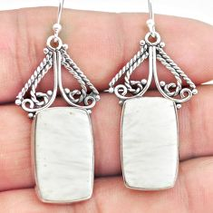 925 silver 18.94cts natural scolecite high vibration crystal earrings p72660