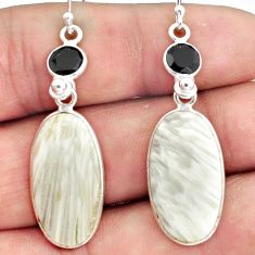 925 silver 16.04cts natural scolecite high vibration crystal earrings p78678