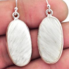 925 silver 19.72cts natural scolecite high vibration crystal earrings p88694