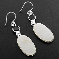 925 silver 17.08cts natural scolecite high vibration crystal earrings p88829