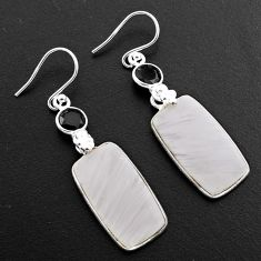 925 silver 18.07cts natural scolecite high vibration crystal earrings p88832