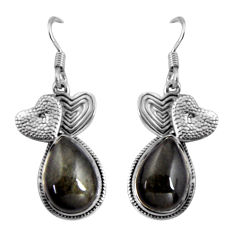 Clearance Sale- 925 silver 13.71cts natural sheen black obsidian couple hearts earrings d32452