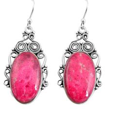 925 silver 20.86cts natural thulite (unionite, pink zoisite) earrings p91943