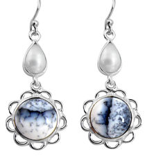 925 silver 14.73cts natural white dendrite opal (merlinite) earrings p89292