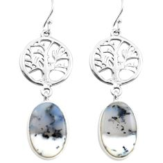 925 silver 15.05cts natural white dendrite opal tree of life earrings p72566