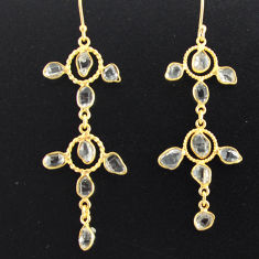 925 silver 12.58cts natural white herkimer diamond gold earrings p75440