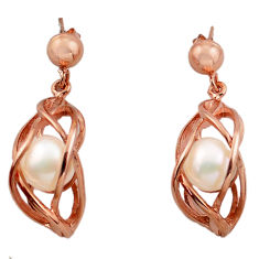 925 silver 11.63cts natural white pearl 14k rose gold dangle earrings c4689
