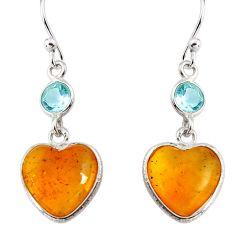 925 silver 6.86cts natural yellow amber bone topaz dangle heart earrings p91445