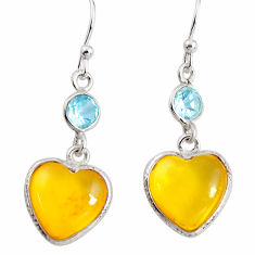 925 silver 7.53cts natural yellow amber bone topaz dangle heart earrings p91459