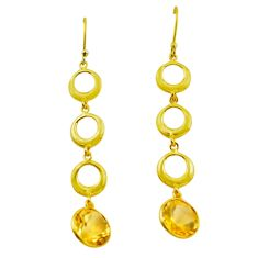 925 silver 9.72cts natural yellow citrine 14k gold dangle earrings p87491