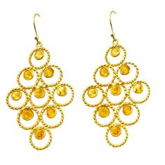 925 silver 7.62cts natural yellow citrine 14k gold dangle earrings p88510