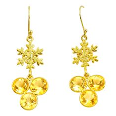 925 silver 11.55cts natural yellow citrine 14k gold dangle earrings p91291