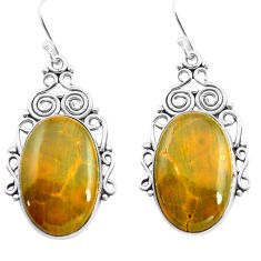 925 silver 22.23cts natural yellow ocean sea jasper dangle earrings p72638