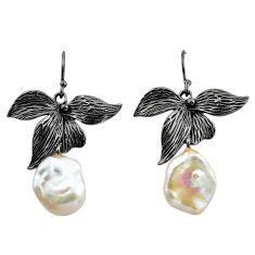 925 silver 13.41cts rhodium natural white pearl 14k gold dangle earrings c4699