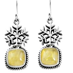 925 silver 7.12cts snowflake natural golden tourmaline rutile earrings p54904