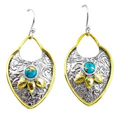 925 silver 2.19cts victorian blue copper turquoise two tone earrings p56414