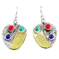 925 silver 5.81cts victorian fine blue turquoise coral two tone earrings p56331