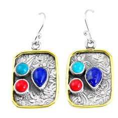 925 silver 6.18cts victorian natural blue lapis lazuli two tone earrings p56377