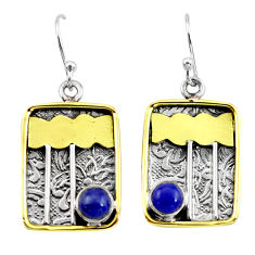 925 silver 2.11cts victorian natural blue lapis lazuli two tone earrings p56389