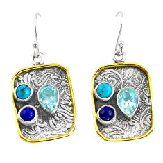 925 silver 6.58cts victorian natural blue topaz two tone dangle earrings p56364