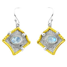 925 silver victorian natural rainbow moonstone two tone dangle earrings p50256