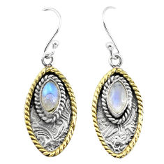 925 silver 4.82cts victorian natural rainbow moonstone two tone earrings p55751