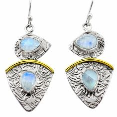 925 silver 5.95cts victorian natural rainbow moonstone two tone earrings p56157
