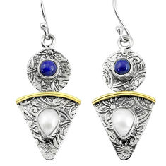 925 silver 4.13cts victorian natural white pearl lapis two tone earrings p56206