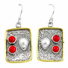 925 silver 6.18cts victorian natural white pearl two tone dangle earrings p56224