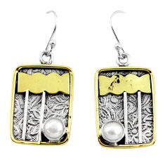 925 silver 2.33cts victorian natural white pearl two tone dangle earrings p56384