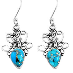925 sterling silver 5.82cts black copper turquoise seahorse earrings p41495