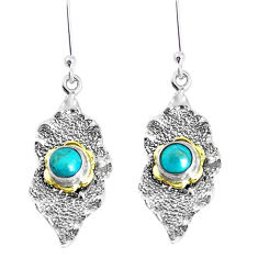925 sterling silver 2.09cts blue arizona mohave turquoise dangle earrings p37796
